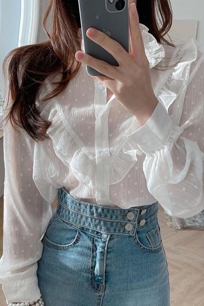 甜美立領圓點點荷葉拼接長袖襯衫*白