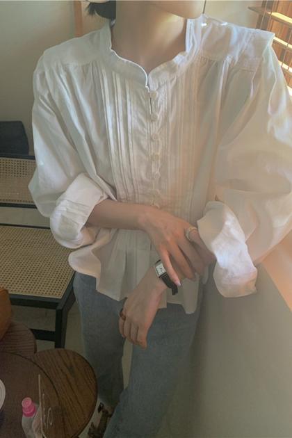 氣質壓褶立領襯衫