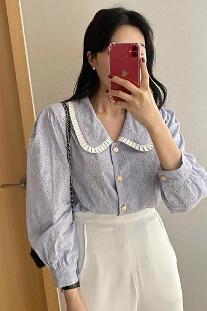 溫柔藍娃娃領刺繡鏤空蕾絲泡泡袖襯衫