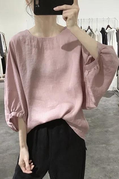 寬鬆蝙蝠袖五分袖棉麻襯衫上衣*4色