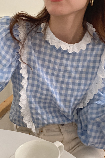 W甜美格紋荷葉花邊蕾絲拼接襯衫*藍