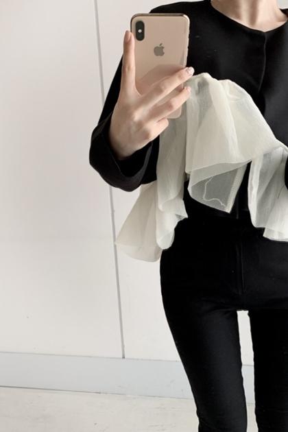 法式紗紗拼接不規則設計感短款上衣外套