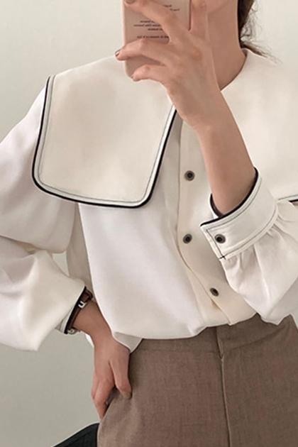 法式海軍領撞色長袖襯衫*2色