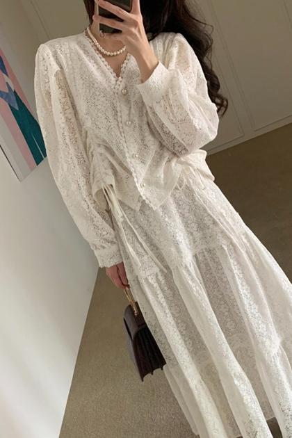 W法式蕾絲抽繩造型襯衫*2色SM