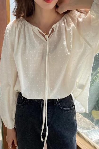 W設計感蕾絲緹花浮點燈籠袖襯衫*米