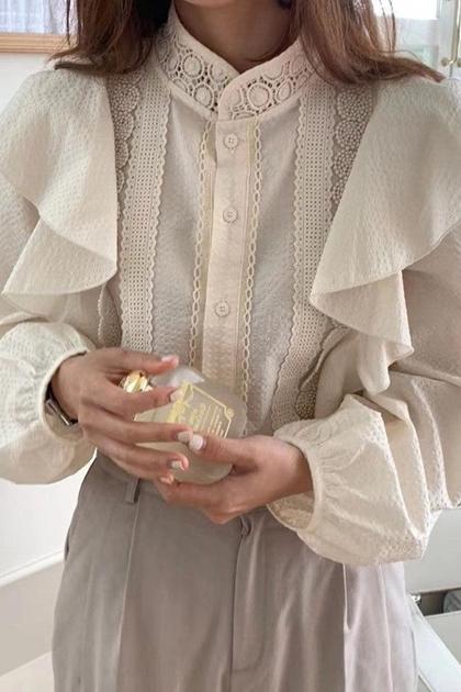 W甜美宮廷立領荷葉蕾絲花邊長袖襯衫*2色
