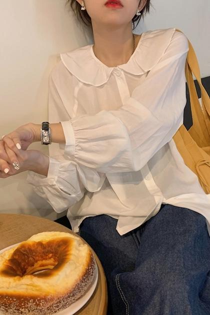 甜美荷葉領襯衫*2色