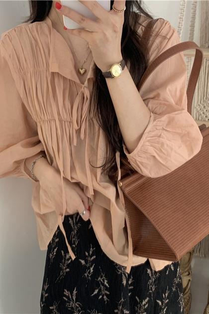 溫柔小姐姐橘系皺摺領綁帶上衣
