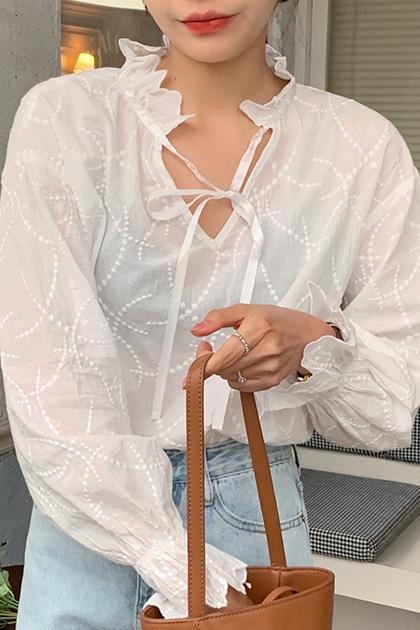 造型花紋領綁帶上衣