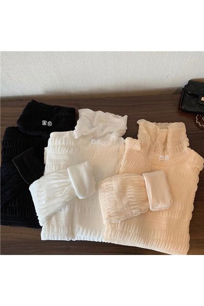 保暖第一名~高領褶皺打底刷毛網紗上衣*3色