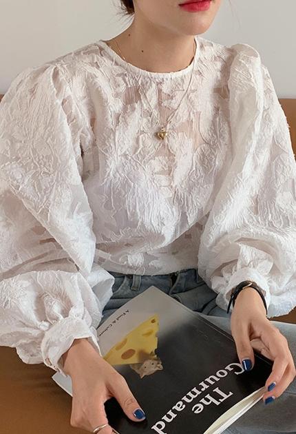 溫柔蕾絲透膚澎澎袖上衣