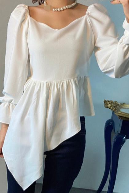 設計感不規則小裙擺雪紡長袖上衣*2色