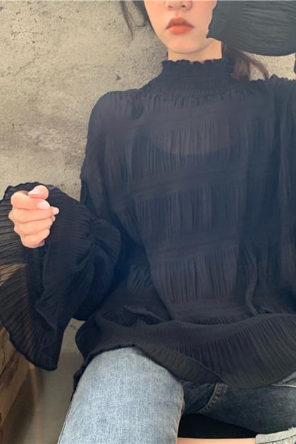 甜美皺褶立領雪紡上衣2色