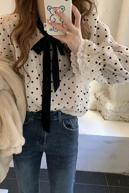 法式領綁帶配色圓點雪紡衫