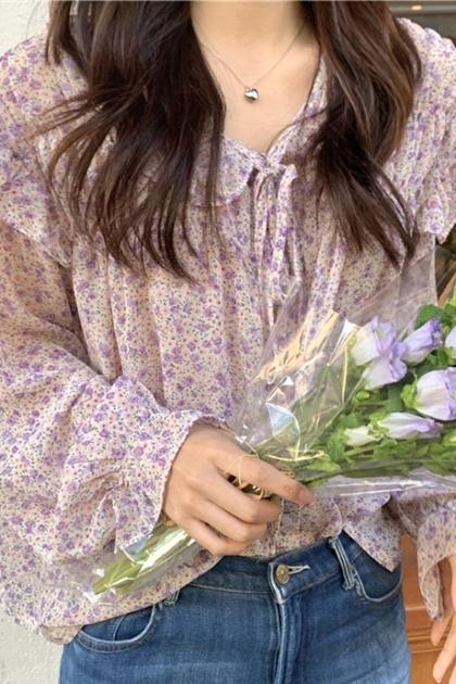 荷葉邊碎花綁帶雪紡長袖襯衫*2色