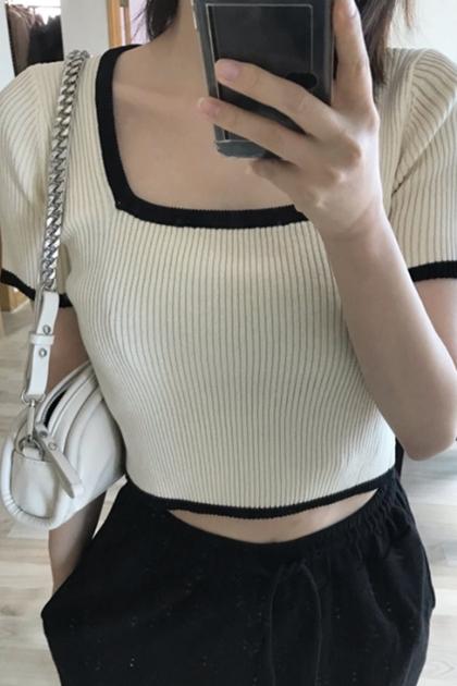 赫本風方領撞色坑條修身顯瘦短袖針織衫*2色