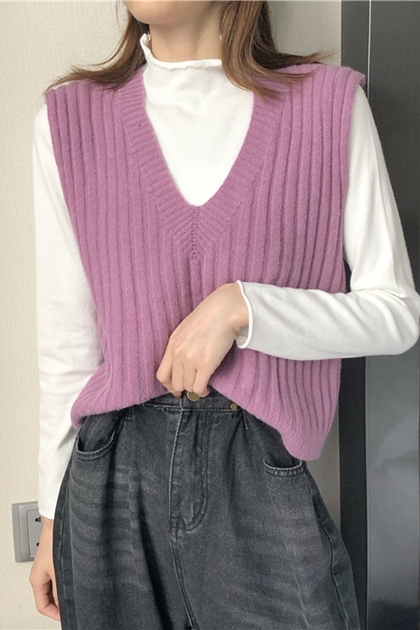 百搭半高領捲邊針織上衣*4色