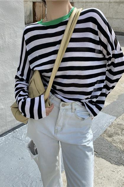 個性撞色條紋針織衫*2色