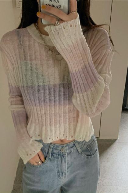 馬卡龍粉嫩色縷空短版針織上衣