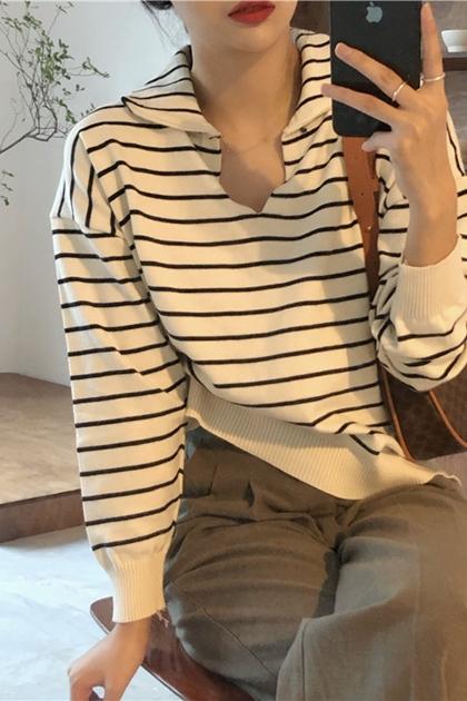 經典V領條紋針織衫上衣