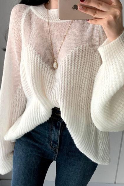 優雅寬鬆透視感拼接粗針燈籠袖針織衫毛衣*4色