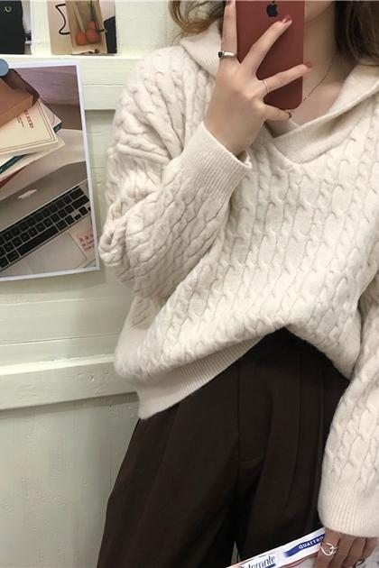 麻花鉤織連帽毛衣*3色