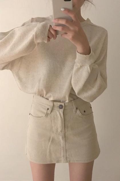 百搭基本款寬鬆襯膚長袖針織衫*3色