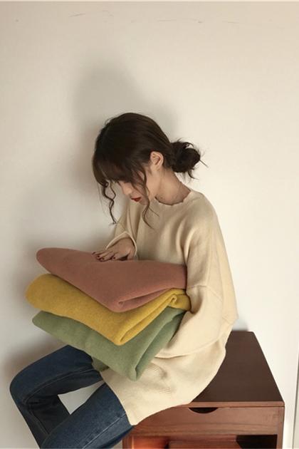 慵懶純色長袖圓領毛衣*6色
