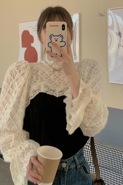 法式配色磨毛蕾絲上衣