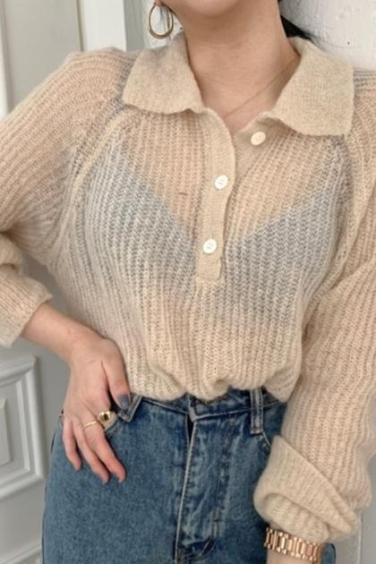 透膚開釦針織衫*4色