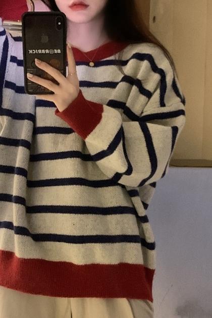 復古雅痞配色條紋針織衫*2色