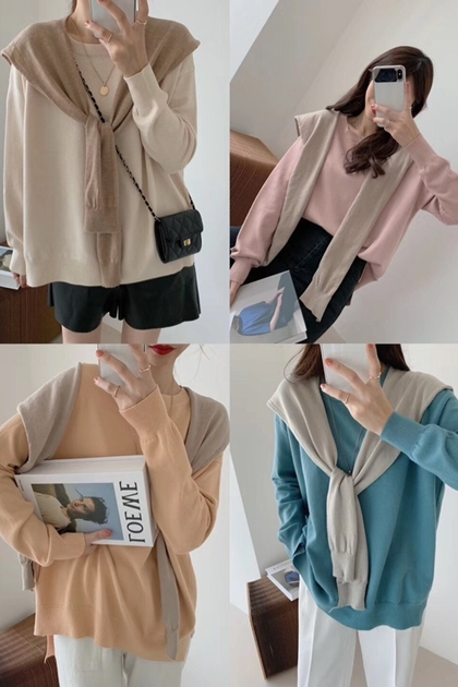 寬鬆純色針織衫毛衣披肩兩件組*4色