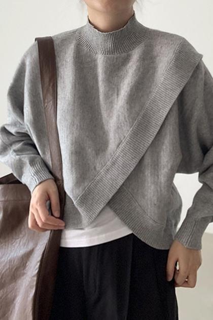 立領不規則交叉開叉親膚長袖針織衫毛衣*2色