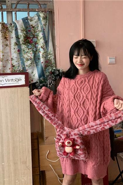 復古慵懶麻花鉤織加長毛衣*3色