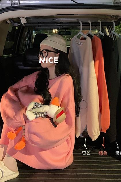 糖果色調澎澎袖寬鬆鉤織毛衣*5色