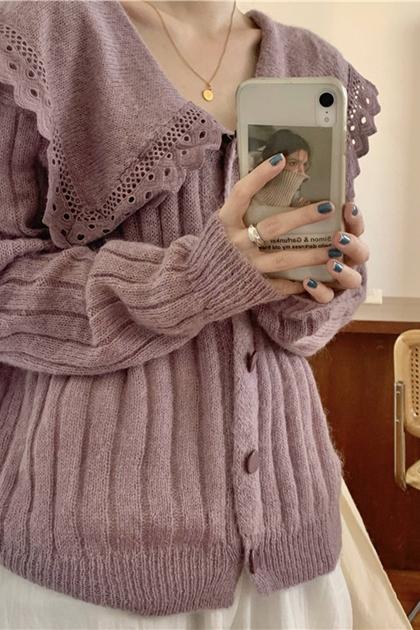 甜美縷私鉤花翻領開釦針織毛衣外套*2色