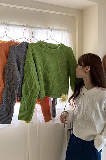 圓領菱格紋麻花針織毛衣*5色