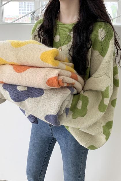 寬鬆可愛花朵針織毛衣*4色