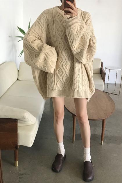 復古菱格紋鉤織寬鬆慵懶毛衣*2色