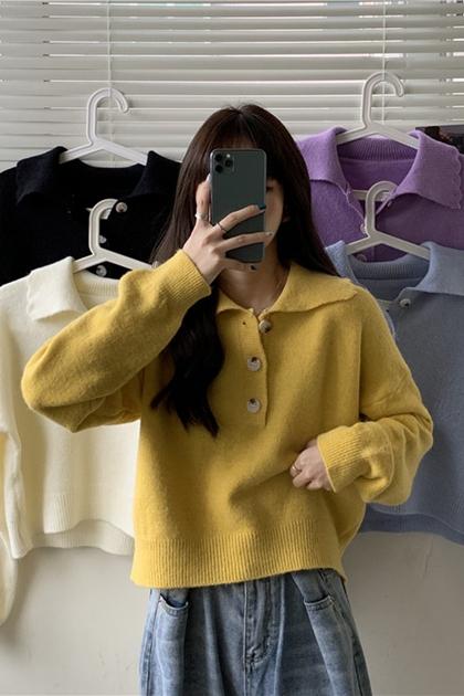 開釦翻領純色毛衣*5色