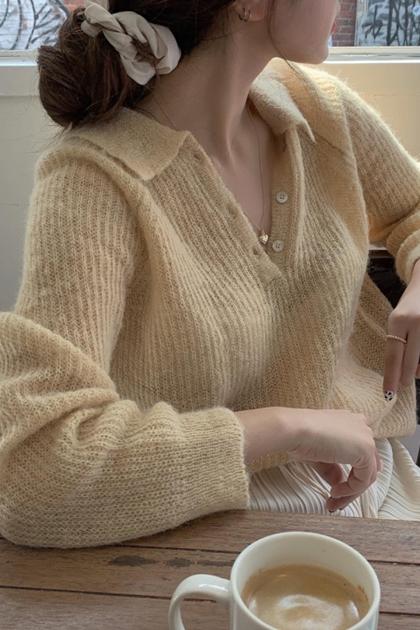 法式翻領開釦針織毛衣*2色
