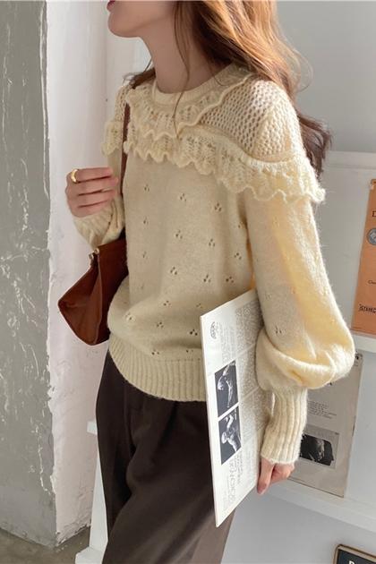 甜美花邊勾織針織毛衣*2色