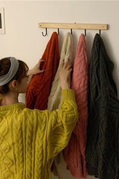 好搭配保暖菱格麻花壓紋長袖長版針織毛衣*5色