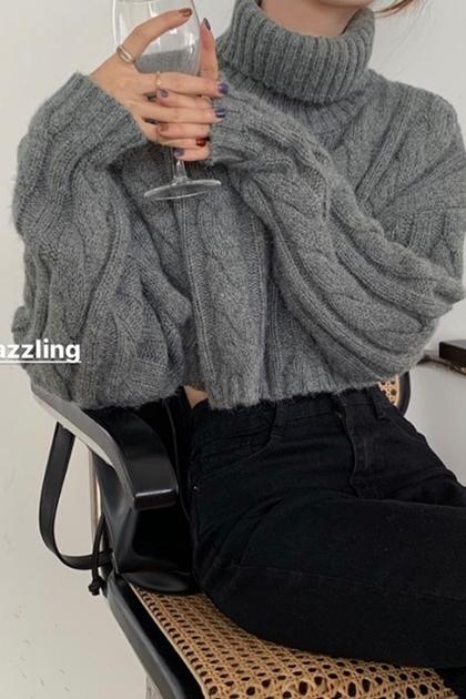慵懶風百搭麻花長袖套頭高領針織毛衣*3色
