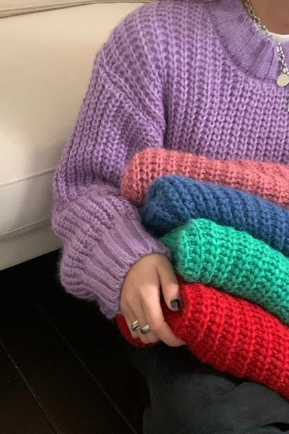 純色寬鬆慵懶風粗針織毛衣*5色