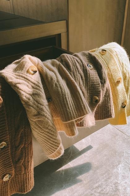 開襟麻花V領百搭針織毛衣開衫背心*4色