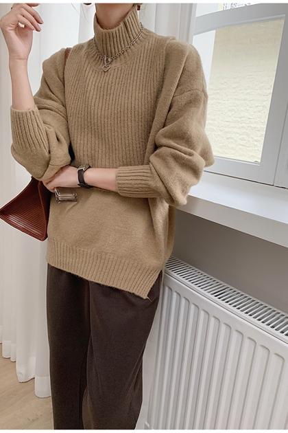 質感兩件組搭配立領壓紋背心+V領針織毛衣*5色