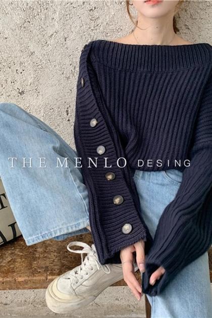 側釦設計喇叭袖針織毛衣*2色
