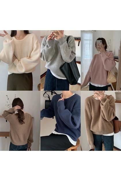 設計感加厚純色針織毛衣*7色