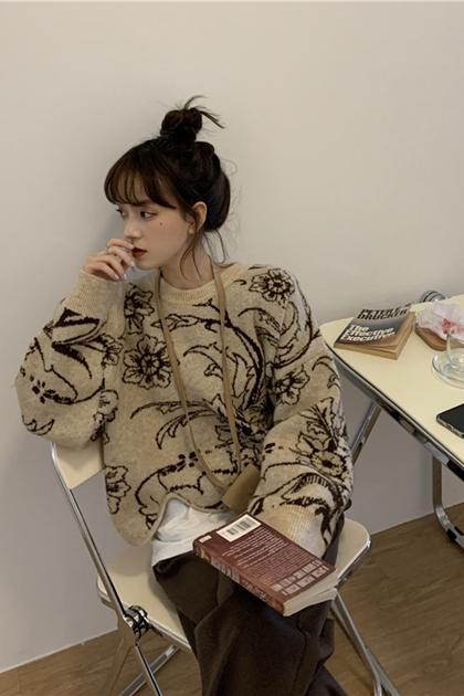 設計感不規則花朵針織毛衣*2色